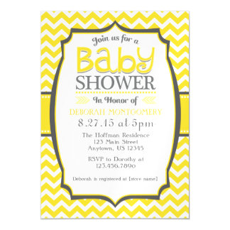 Yellow White Chevron Magnetic Baby Shower Invite Magnetic Invitations