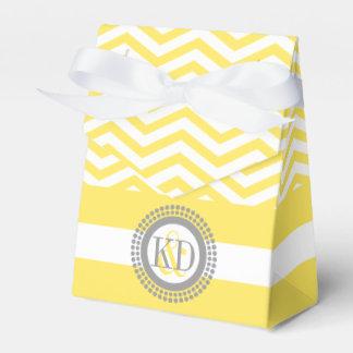 Yellow, white chevron zigzag pattern wedding favour box