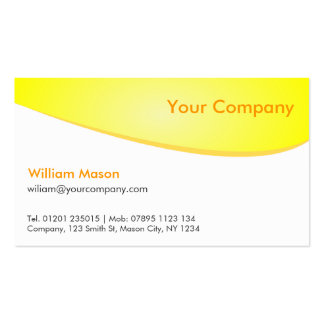 Yellow White Curved, Professional Business Card