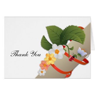 Yellow White Daisies Ladybug Thank You Card