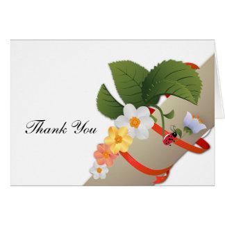 Yellow White Daisies Ladybug Thank You Card