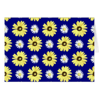 Yellow White Daisies on Navy Blue Blank Card
