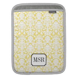 Yellow white damask pattern 3 letter monogram iPad sleeve