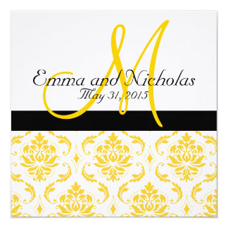 Yellow White Damask Wedding Invitation