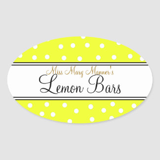 Yellow & White Dots-Business Food Label Oval Stickers