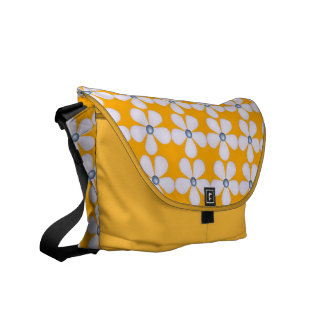 Yellow White Floral Messenger Bag Courier Bags