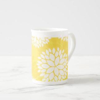 Yellow White Floral Monogram Pattern Bone China Mug