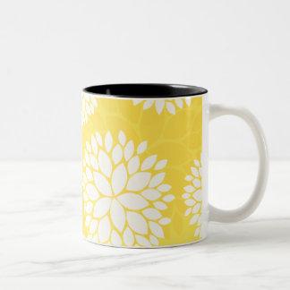 Yellow White Floral Monogram Pattern Coffee Mug