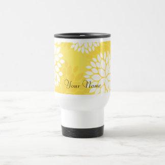 Yellow White Floral Monogram Pattern Stainless Steel Travel Mug