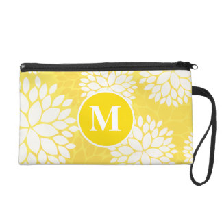 Yellow White Floral Monogram Pattern Wristlet