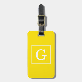 Yellow White Framed Initial Monogram Luggage Tag