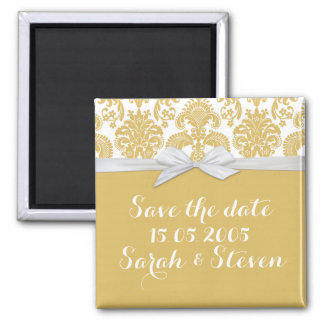 Yellow&White French Country Damask Save the date Magnet