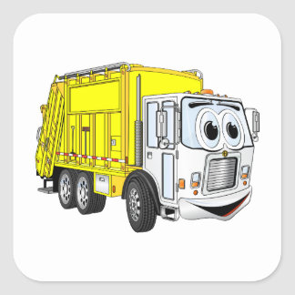 Yellow White Garbage Truck Cartoon Square Sticker
