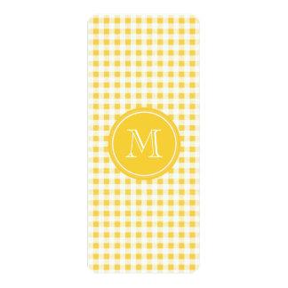 Yellow White Gingham Pattern, Your Monogram 10 Cm X 24 Cm Invitation Card