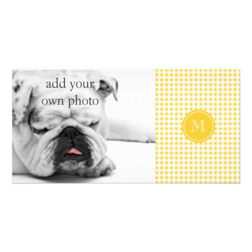Yellow White Gingham Pattern, Your Monogram Picture Card