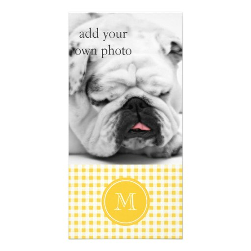 Yellow White Gingham Pattern, Your Monogram Customized Photo Card