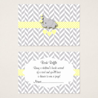 Yellow White Gray Elephant Baby Shower Book Raffle Business Card