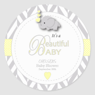 Yellow, White Gray Elephant Baby Shower Classic Round Sticker