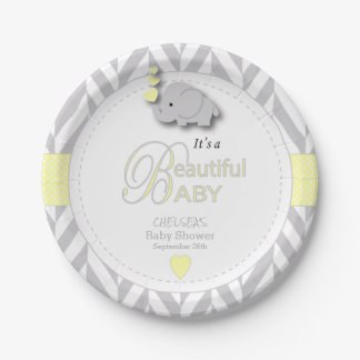 Yellow, White Gray Elephant Baby Shower Paper Plate