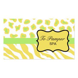 Yellow, White & Green Zebra & Cheetah Skin Custom Pack Of Standard Business Cards