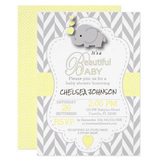 Yellow, White Grey Elephant Baby Shower Card