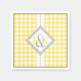 Yellow, white houndstooth pattern wedding paper napkin