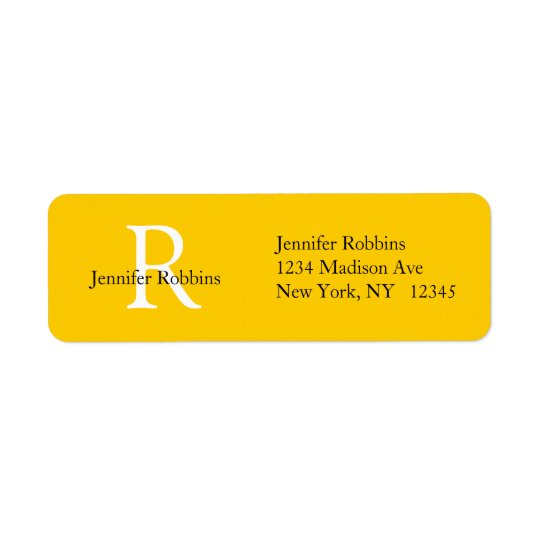 Yellow White Initial Simple Address Label
