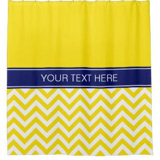 Yellow White LG  Chevron CB Navy Name Monogram Shower Curtain