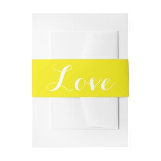 Yellow & White Love Wedding Invitation Belly Band