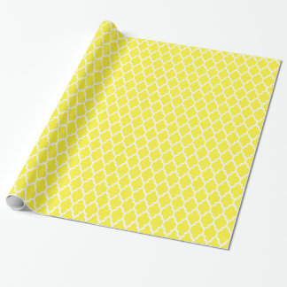Yellow White Moroccan Quatrefoil Pattern #4 Wrapping Paper