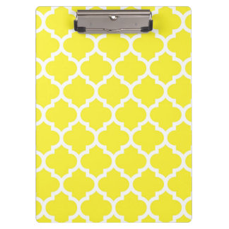 Yellow White Moroccan Quatrefoil Pattern #5 Clipboards