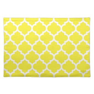 Yellow White Moroccan Quatrefoil Pattern #5 Place Mats