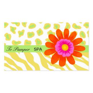 Yellow, White, Orange & Green Zebra & Cheetah Skin Pack Of Standard Business Cards