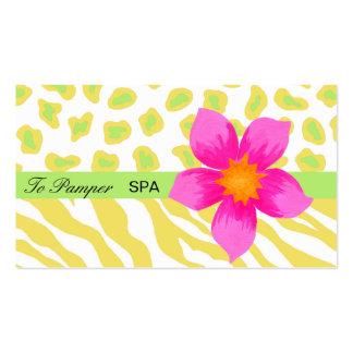 Yellow, White, Pink & Green Zebra & Cheetah Skin Pack Of Standard Business Cards