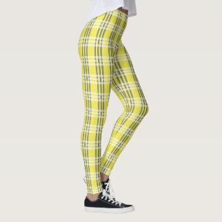 Yellow & White Plaid Cute Modern Trendy Leggings