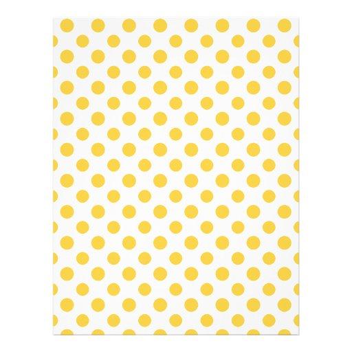Yellow White Polka Dots Pattern Flyers