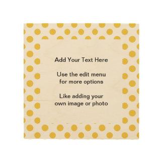 Yellow White Polka Dots Pattern Wood Prints