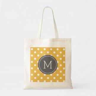 Yellow & White Polkadot Pattern Gray Accents Budget Tote Bag
