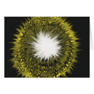 Yellow White Starburst Abstract Art Painting Card