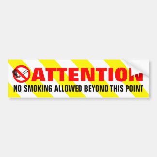 Yellow White Stripes Attention No Smoking Warning Bumper Sticker