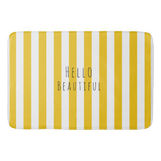 Yellow & White Stripes Modern Chic Bright Bold Bath Mat