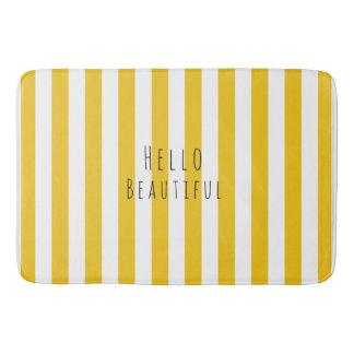 Yellow & White Stripes Modern Chic Bright Bold Bath Mats