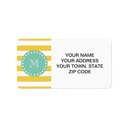 Yellow White Stripes Pattern, Mint Green Monogram Address Label