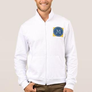 Yellow White Stripes Pattern, Navy Blue Monogram Jacket