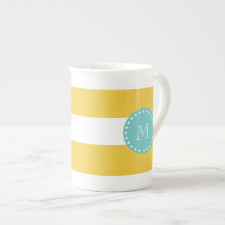 Yellow White Stripes Pattern, Your Monogram Bone China Mug