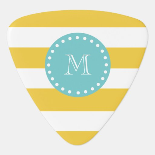 Yellow White Stripes Pattern, Your Monogram Guitar Pick