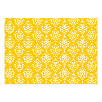 YELLOW WHITE VINTAGE DAMASK PATTERN 1 BUSINESS CARD TEMPLATE