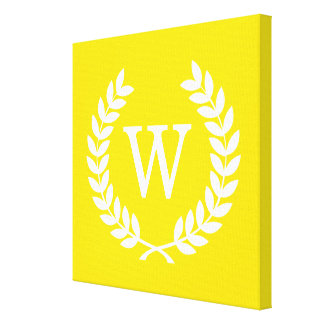 Yellow White Wheat Laurel Wreath Initial Monogram Stretched Canvas Prints