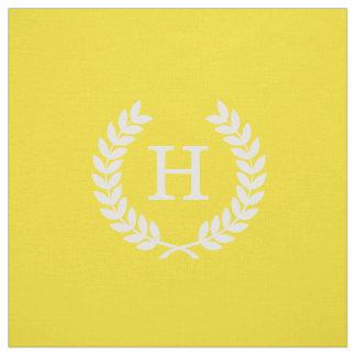 Yellow White Wheat Laurel Wreath Initial Monogram Fabric
