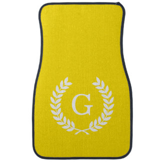 Yellow White Wheat Laurel Wreath Initial Monogram Floor Mat